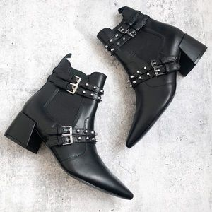 Kendall + Kylie Black Studded Buckle Ankle Booties